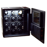 Brooklyn Glass Watch Winder ( Full Black Real Leather)